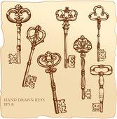 Uppsättning antika nycklar. — Stockvektor