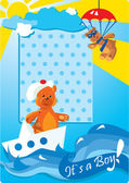 Portrait border with teddy bears for a little baby boy — Stock Vector