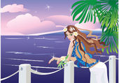 Girl on tropical sea side looking sunset — Stock Vector