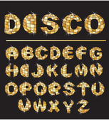 Gold disco ball letters - alphabet set — Stockvector
