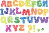Náčrt abeceda - různé barvy, dopisy jsou vyrobeny jako klikyháky — Stock vektor