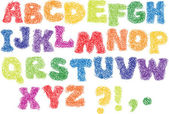 Dibujo alfabeto - diferentes colores las letras están hechas como un garabato — Vector de stock