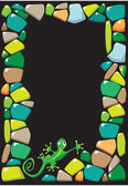Portrait frame with colored stones and lizard. — Stock Vector