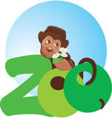 Little monkey with flowers in its hand (zoo symbol) — Stock Vector
