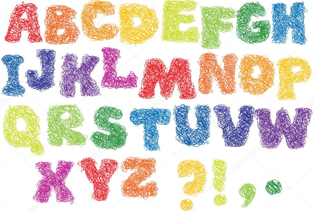Sketch Alphabet - different colors letters are made like a scribble — Stock Vector #8454346
