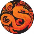 Symbol 2012 dragon in circle — Imagen vectorial