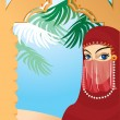 Stock Vector: Beautiful arabiwomwearing yashmak. Portrait border.