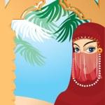 Beautiful arabian woman wearing yashmak. Portrait border. — Stock Vector