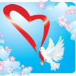 Valentine postcard with dove and heart — Stock Vector