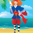 Pirate red haired girl with parrot on beautiful tropical beach — Stock Vector