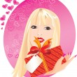Blond girl portrait with little red gift box in her hand — Vecteur #8493556