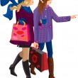 Two Girls Shopping Together — Stock Vector #8494045