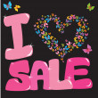 图库矢量图片: Sale concept with heart and butterfly