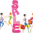 Sale cartoon with group of funny girls in shopping time — Imagen vectorial
