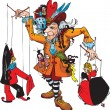 Vector de stock : Puppeteer and marionettes: Pierrot, Columbine, Harlequin, Gipsy, Japanese