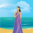 Beautiful naked woman wrapped in a towel on beach — Stock Vector #8494940