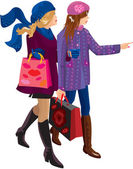 Two Girls Shopping Together — Stock Vector