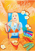 Beautiful blondy girl try on bikini and dreaming about holiday — Stock Vector