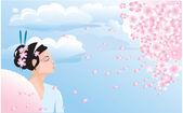 Sakura blossom and japanese girl (geisha) — Stock Vector