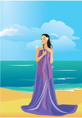 Beautiful naked woman wrapped in a towel on beach — Stock Vector