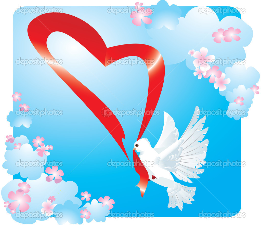 Valentine postcard with dove and heart — Stock Vector #8493542
