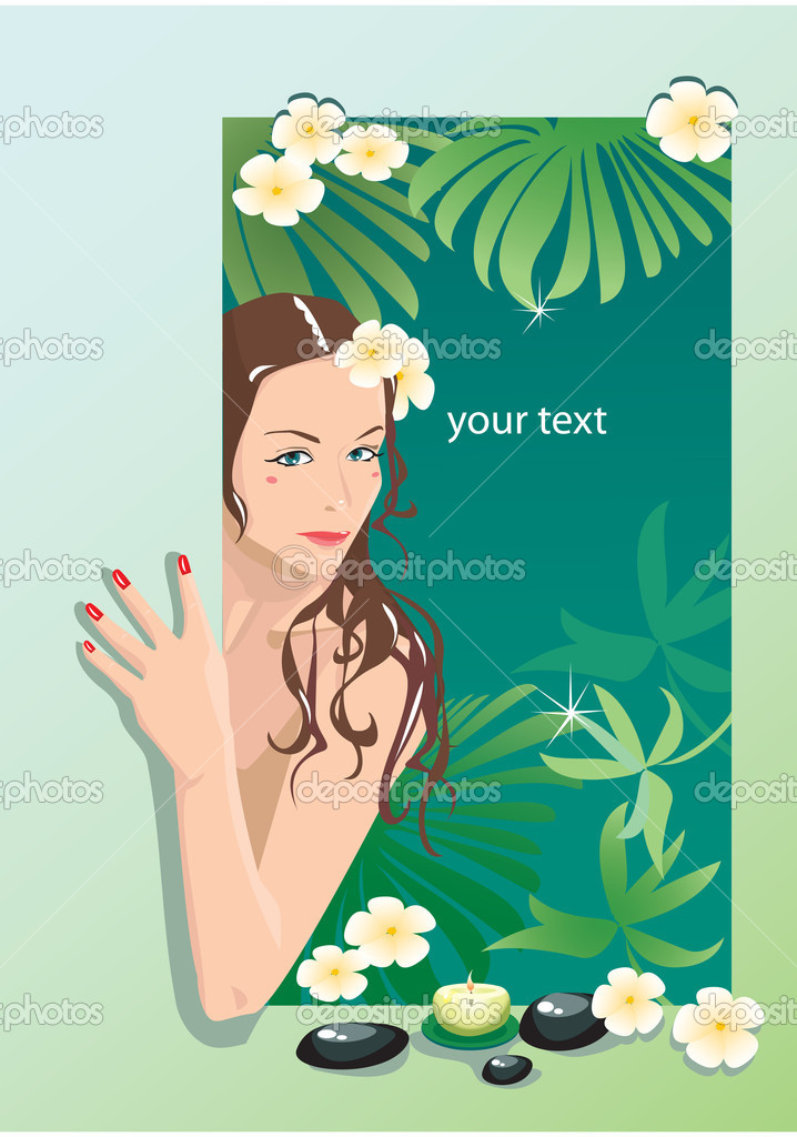 Girl with spa elements (portrait frame) — Stock Vector #8494945