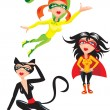 Set of funny cartoons Super hero Girls — Stock Vector
