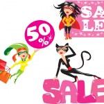 Sale concept - Set of funny cartoons Super hero Girls — Stock Vector
