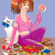 Sweet tooth girl with different sweets: chocolate, cakes, lollipops, candy — 图库矢量图片