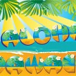 Vector de stock : Postcard AlohHawaii
