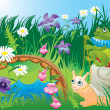 Royalty-Free Stock Vector Image: Frog riding snail - fairy tale illustration