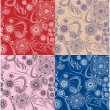4 floral seamless patterns — Stock Vector