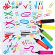 Set of different colors markers and marks — Stock Vector