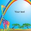 Vector de stock : Portrait border with rainbow and giraffe