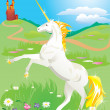 White unicorn rearing up on its hind legs on beautiful meadow with wild flo — Векторная иллюстрация