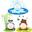 Set of oval frames - animals for kids - 3 bears — 图库矢量图片