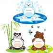 Royalty-Free Stock Vector Image: Set of oval frames - animals for kids - 3 bears