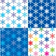 Stock Vector: Set of 4 snow backgrounds