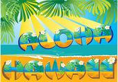 Briefkaart aloha hawaii — Stockvector