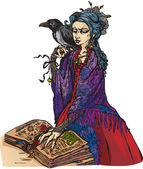 Woman witch with black raven reading ancient magic book — Stock Vector