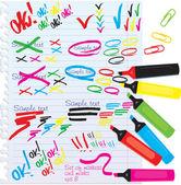 Conjunto de marcadores de diferentes colores y marcas — Vector de stock