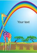Portrait border with rainbow and giraffe — Stock Vector