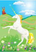 White unicorn rearing up on its hind legs on beautiful meadow with wild flo — Stock Vector