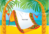 Landscape frame with tropic beach — Stock Vector