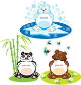 Set of oval frames - animals for kids - 3 bears — Stock Vector