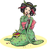 Beautiful japanese woman eats cherries — Stock Vector