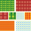 Set of seamless checked ornaments — 图库矢量图片