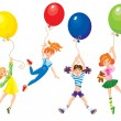 Stok Vektör: Cute girls flying away on balloons