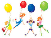 Cute girls flying away on balloons — Vecteur