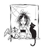 Baby witch with black cat, raven and spider — Stock Vector